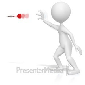 ID# 4452 - Stick Figure Throwing a Dart - Presentation Clipart