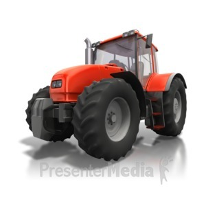 ID# 4467 - Red Tractor Angle - Presentation Clipart