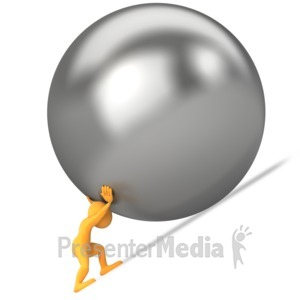 ID# 4474 - Pushing Ball Uphill - Presentation Clipart