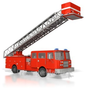 ID# 4478 - Emergency Fire Truck Raised Ladder - Presentation Clipart