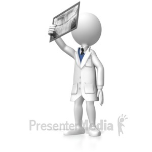 ID# 4532 - Stick Figure Dentist Looking At Xray - Presentation Clipart