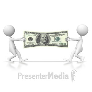 ID# 4601 - Dollar Tug of War  - Presentation Clipart