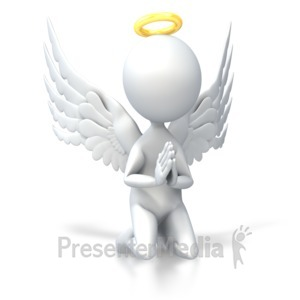 ID# 4641 - Angel Pray on Knees - Presentation Clipart