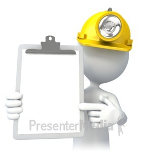 ID# 4645 - Miner With Clipboard - Presentation Clipart