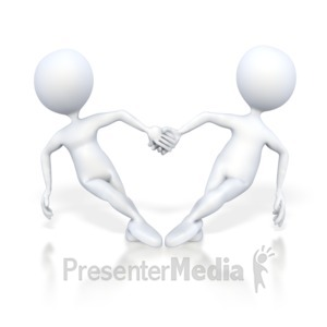 ID# 4736 - Stick Figures Hold Hand in Heart Shape - Presentation Clipart