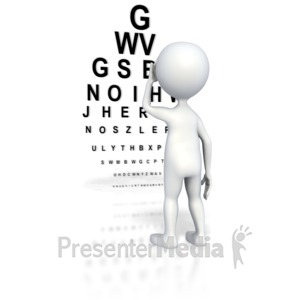 ID# 4797 - Stick Figure Eye Exam  - Presentation Clipart