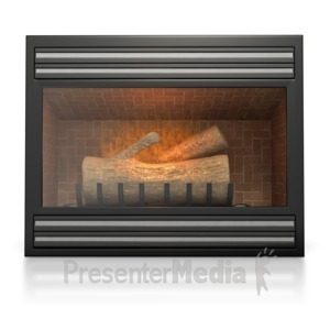 ID# 4815 - Gas Fireplace  - Presentation Clipart