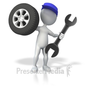ID# 4824 - Mechanic with Tire and Wrench - Presentation Clipart