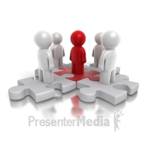 ID# 4877 - Five Way Puzzle People - Presentation Clipart