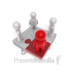 ID# 4883 - Four Way Puzzle People - Presentation Clipart