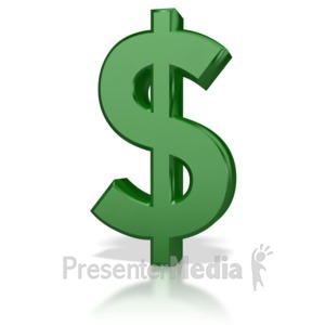 ID# 4970 - Shinny Money Symbol  - Presentation Clipart