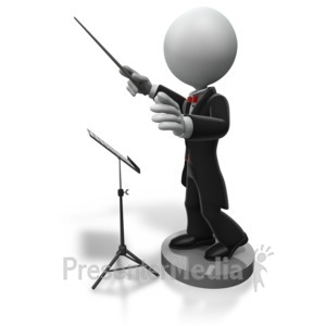 ID# 5030 - Music Conductor Directing with Baton - Presentation Clipart