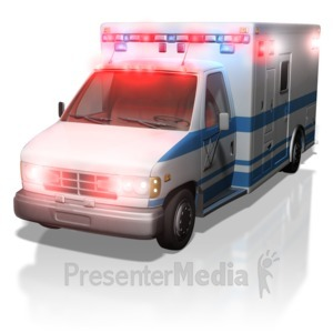 ID# 5073 - Ambulance With Lights On - Presentation Clipart