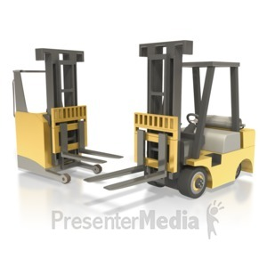 ID# 5080 - Forklift And Reach Truck - Presentation Clipart