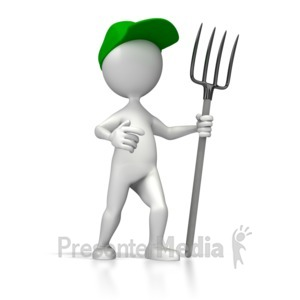 ID# 5083 - Farmer Pitch Fork - Presentation Clipart