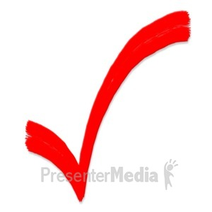 ID# 5131 - Check Mark Painted Symbol - Presentation Clipart