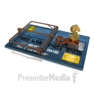 ID# 5135 - Credit Card Dollar Trap - Presentation Clipart