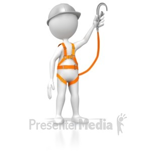 ID# 5153 - Stick Figure Wearing Safety Harness  - Presentation Clipart