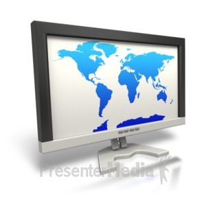 ID# 5158 - World Map On Monitor - Presentation Clipart