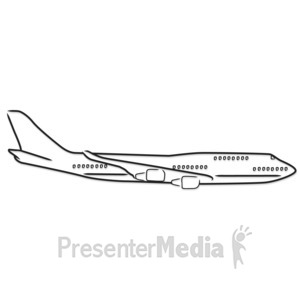 ID# 5184 - Airplane Outline Drawing - Presentation Clipart