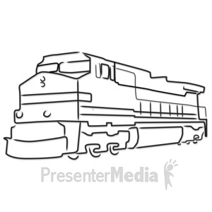 ID# 5185 - Train Engine Outline - Presentation Clipart