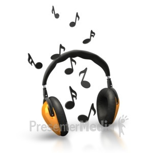 ID# 5189 - Music Notes Headphones - Presentation Clipart