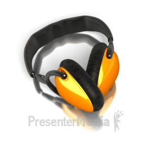 ID# 5193 - Single Pair Audio Headphones - Presentation Clipart