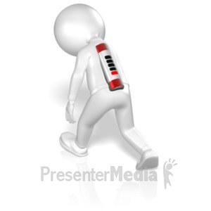 ID# 5225 - Stick Figure Walking With Low Battery - Presentation Clipart