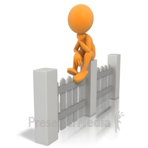 ID# 5234 - Sitting On The Fence - Presentation Clipart