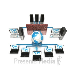 ID# 5251 - Network Firewall Protection Computer - Presentation Clipart