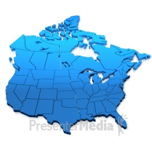 ID# 5254 - North America Blue Map - Presentation Clipart