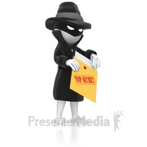 ID# 5265 - Spy Opening Top Secret Envelope  - Presentation Clipart
