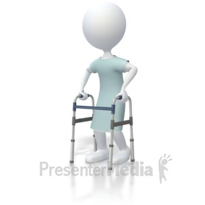 ID# 5359 - Stick Figure Patient With Walker  - Presentation Clipart