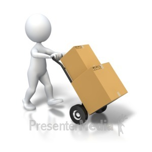 ID# 5388 - Stick Figure Dolly Delivery Boxes - Presentation Clipart
