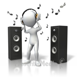 ID# 5392 - Music Vibe Headphones Speakers - Presentation Clipart