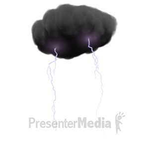 ID# 5418 - Storm Cloud With Lightning - Presentation Clipart