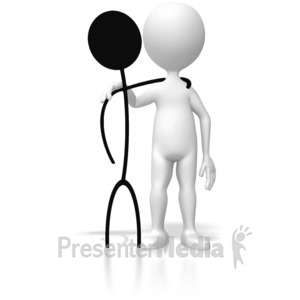 ID# 5423 - 2d 3d Stick Figure Reunion - Presentation Clipart