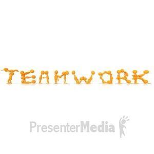 ID# 5429 - Stick Figures Spelling Teamwork with the - Presentation Clipart