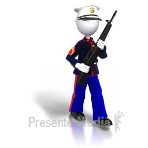 ID# 5446 - Marine Walking Carrying Gun - Presentation Clipart