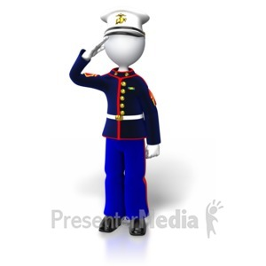 ID# 5447 - Marine Stand Saluting - Presentation Clipart