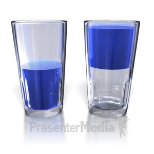 ID# 5473 - Glass Half Full and Half Empty - Presentation Clipart