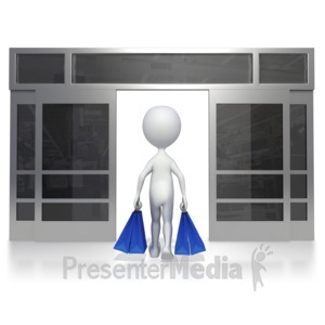 ID# 5486 - Walking Out Of Store - Presentation Clipart