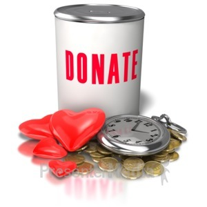 ID# 5504 - Donation Time Money Heart - Presentation Clipart