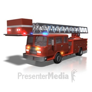 ID# 5522 - Firetruck With Lights On - Presentation Clipart
