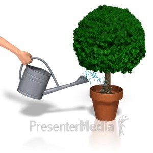 ID# 5528 - Watering Plant - Presentation Clipart