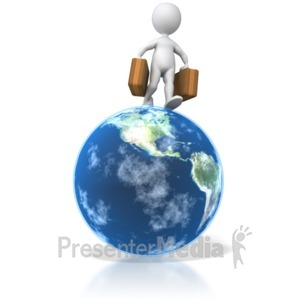 ID# 5543 - Traveler Walking On Globe  - Presentation Clipart