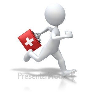 ID# 5548 - Stick Figure Running First Aid - Presentation Clipart
