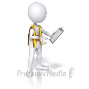 ID# 5559 - Construction Worker Taking Notes - Presentation Clipart