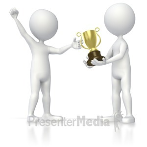 ID# 5587 - Stick Figure Receiving Trophy - Presentation Clipart