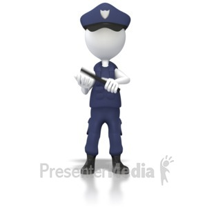 ID# 5621 - Cop With Night Stick Clip - Presentation Clipart